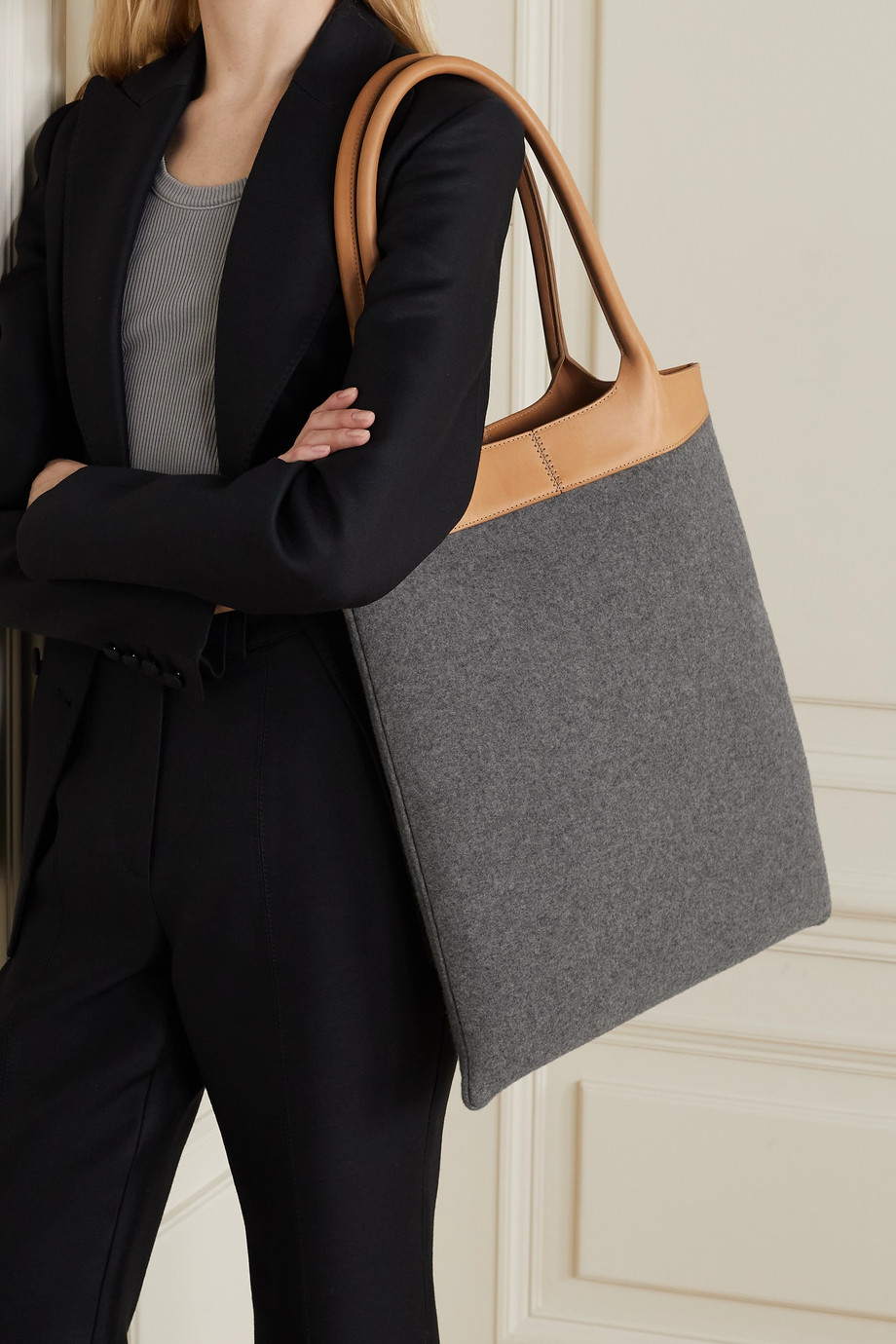 Gabriela Hearst Leather-trimmed cashmere tote