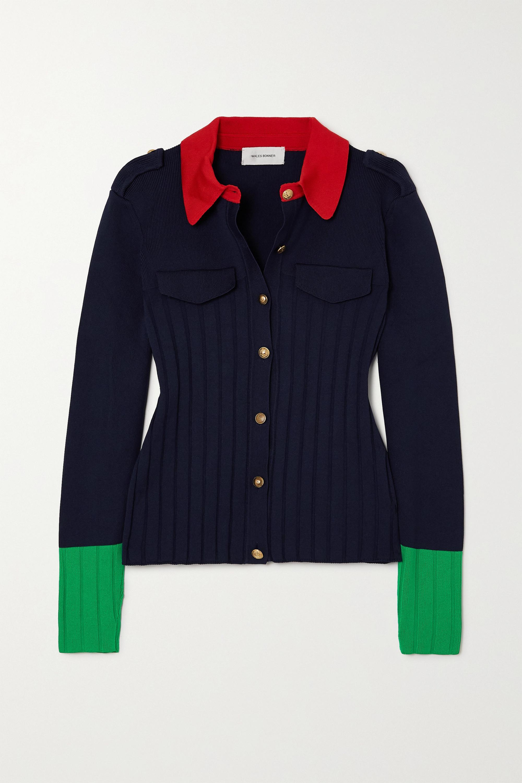 Wales Bonner Goto color-block ribbed-knit cardigan