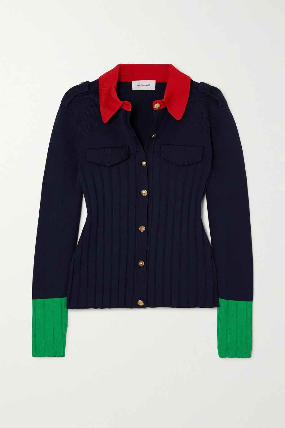 Wales Bonner Goto color-block ribbed-knit cardigan