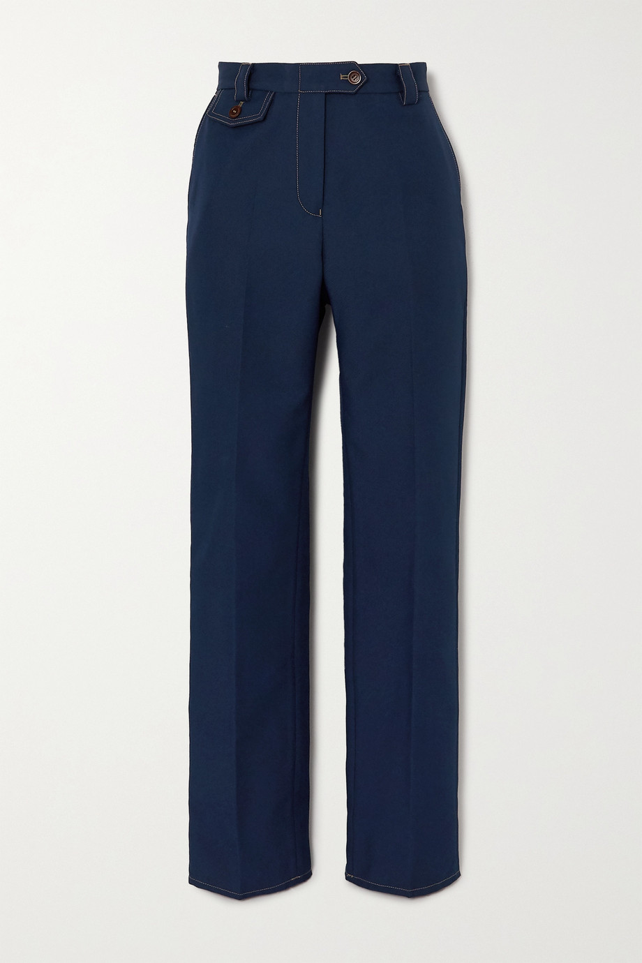 Wales Bonner Isaacs topstitched twill straight-leg pants