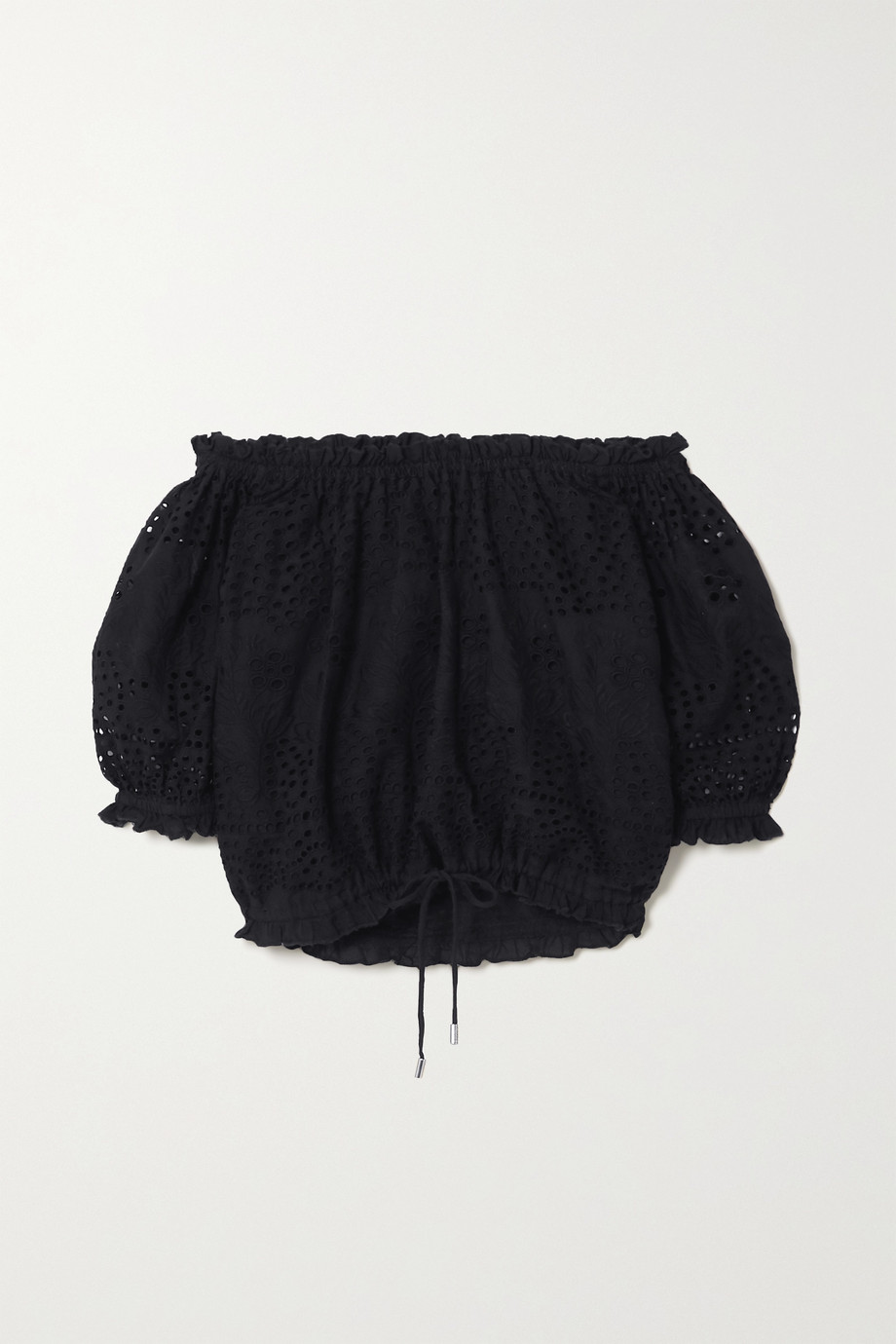 Melissa Odabash Francesca cropped off-the-shoulder broderie anglaise cotton top