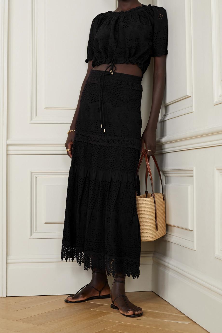 Melissa Odabash Alessia broderie anglaise cotton midi skirt