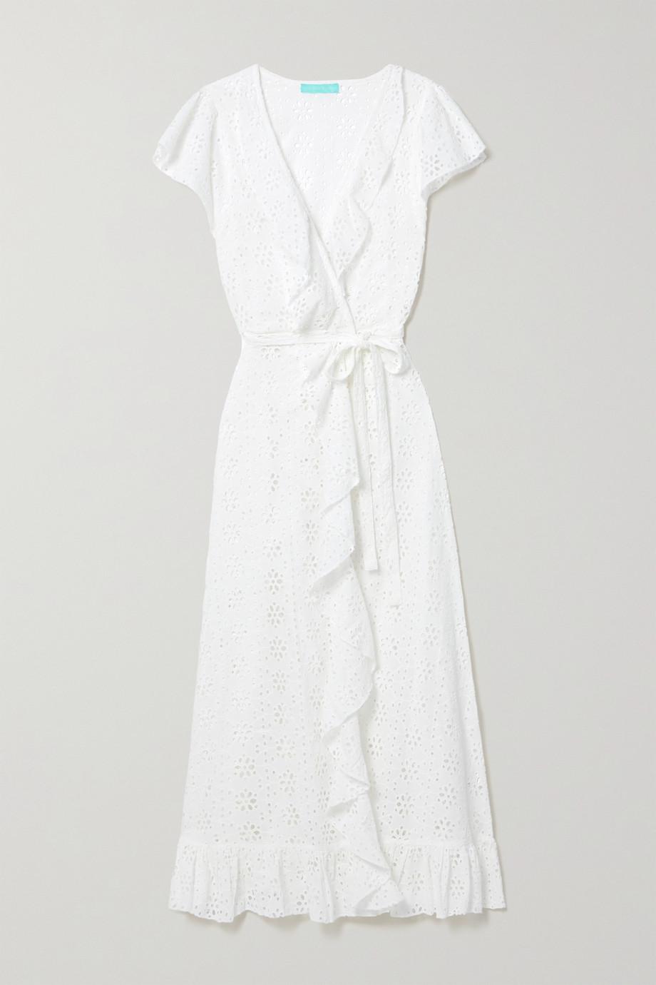 Melissa Odabash Brianna Maxi-Wickelkleid aus Baumwolle mit Lochstickerei, Rüschen und Bindegürtel
