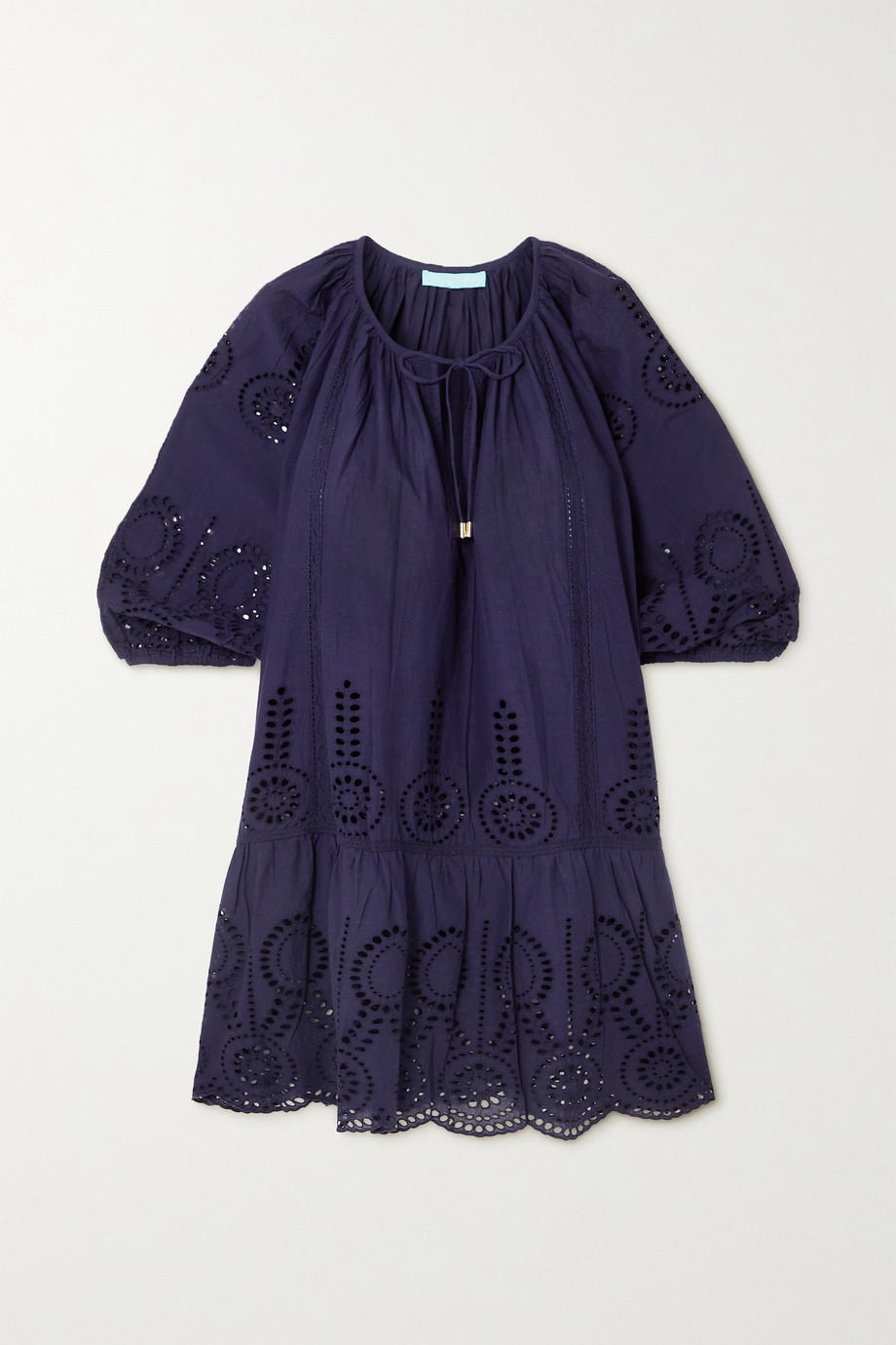 Melissa Odabash Ashley lace-trimmed broderie anglaise cotton kaftan