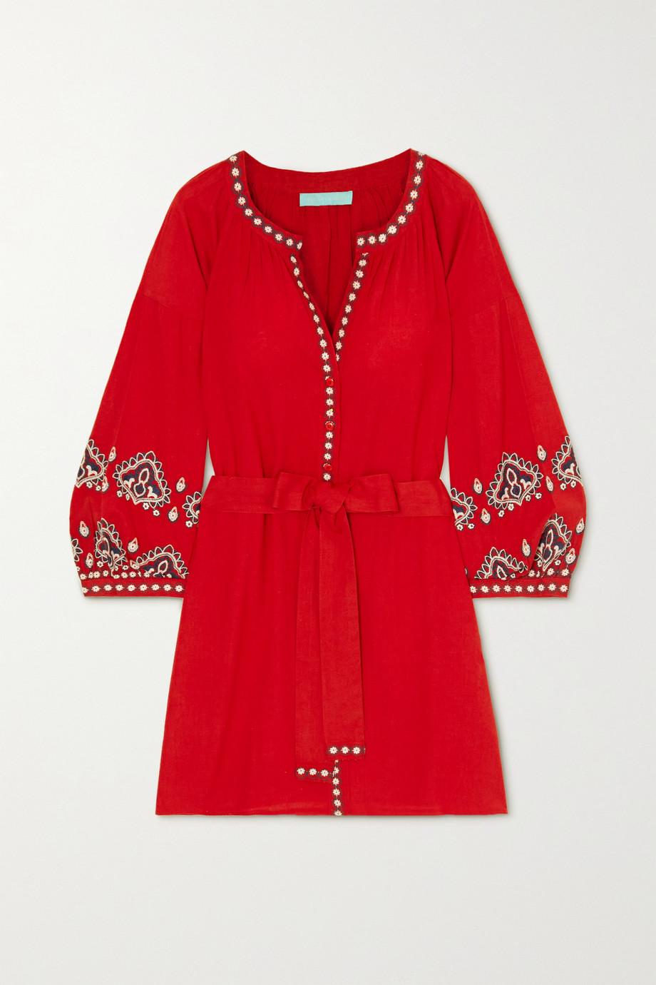 Melissa Odabash Tania belted embroidered cotton and linen-blend kaftan