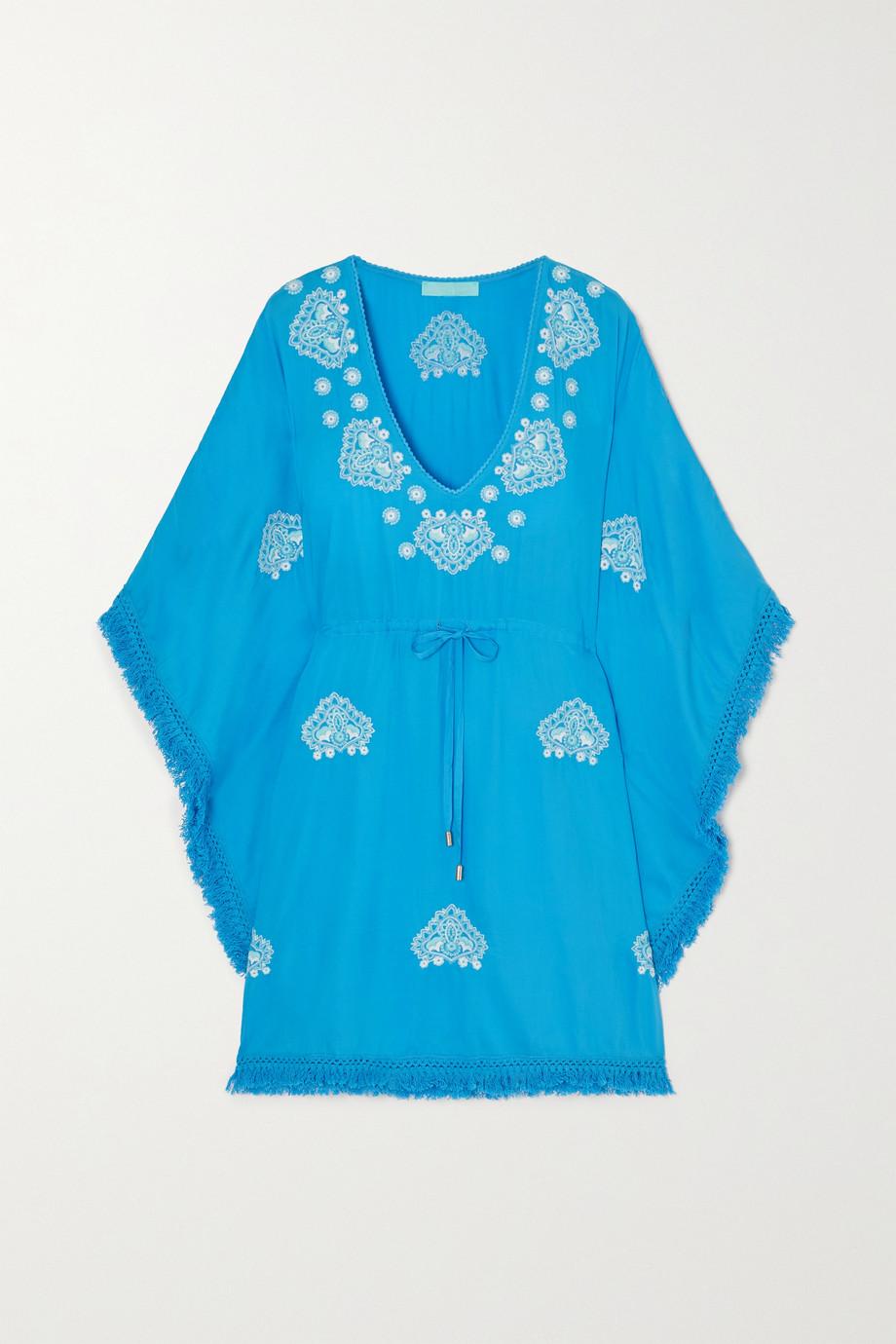 Melissa Odabash Irene 流苏边刺绣巴里纱长罩衫裙