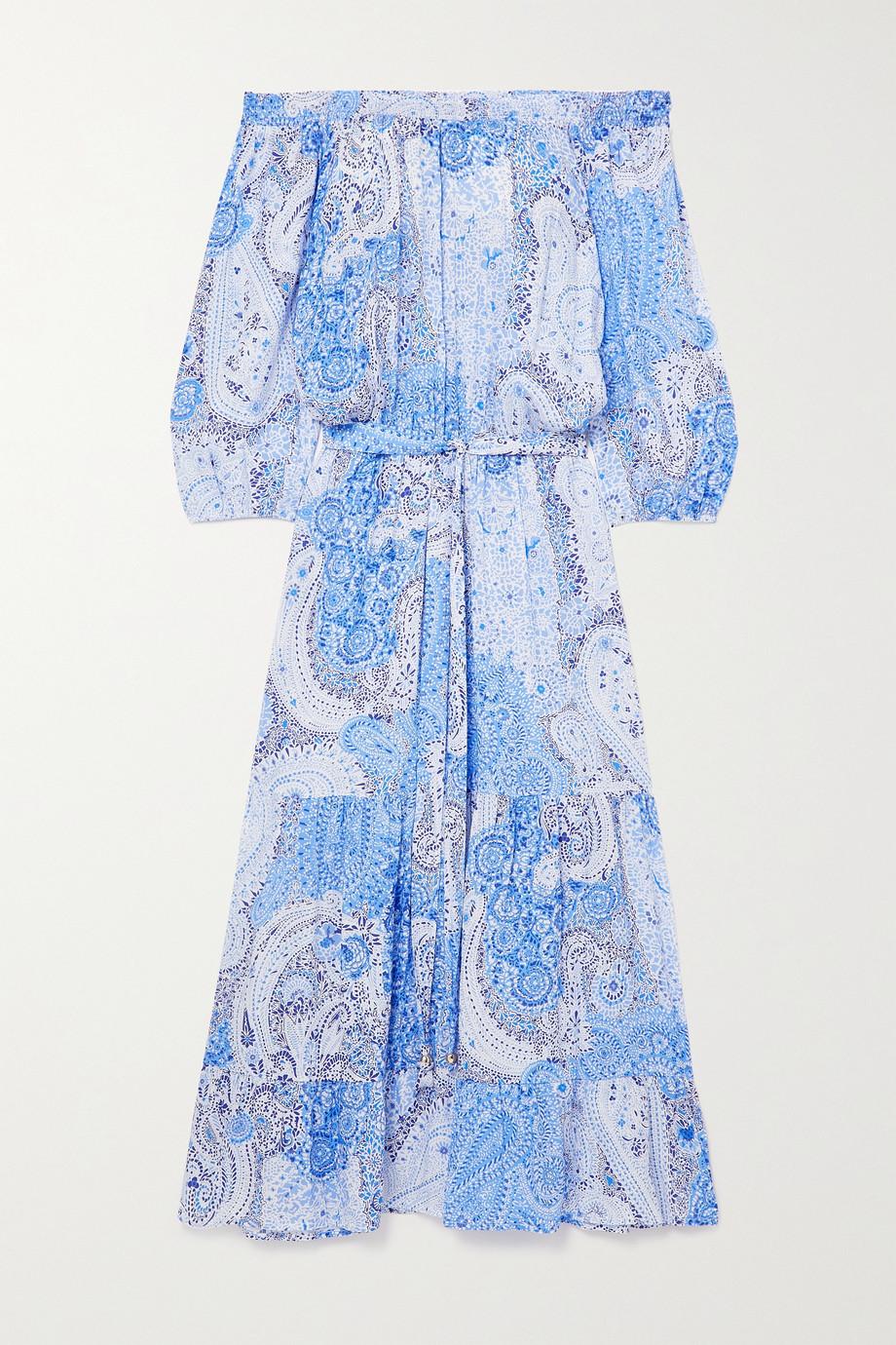 Melissa Odabash Condor off-the-shoulder belted paisley-print georgette midi dress