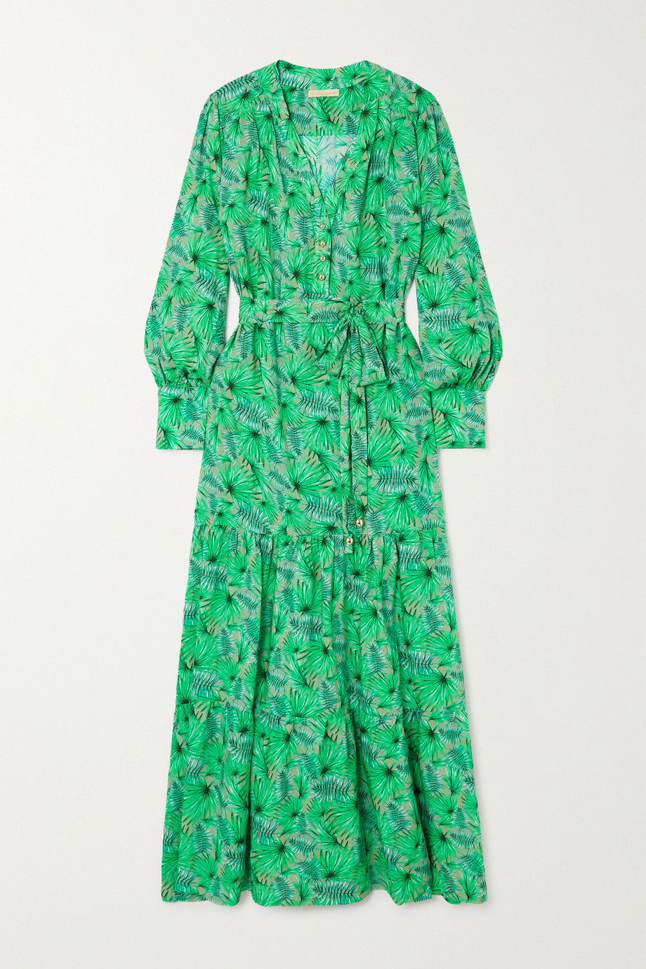 Melissa Odabash Sonja belted tiered printed woven maxi dress