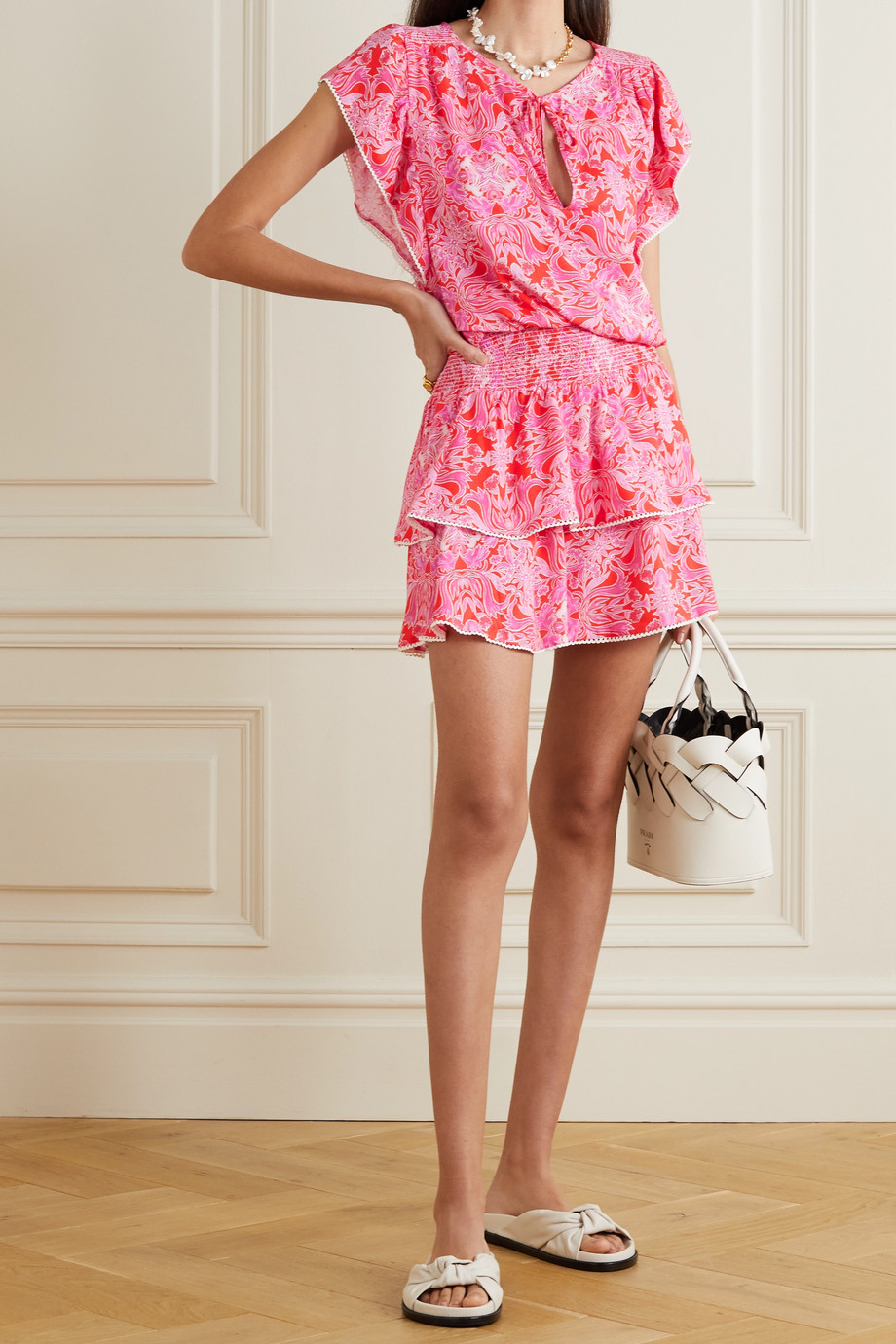 Melissa Odabash Keri ruffled crochet-trimmed floral-print voile mini dress
