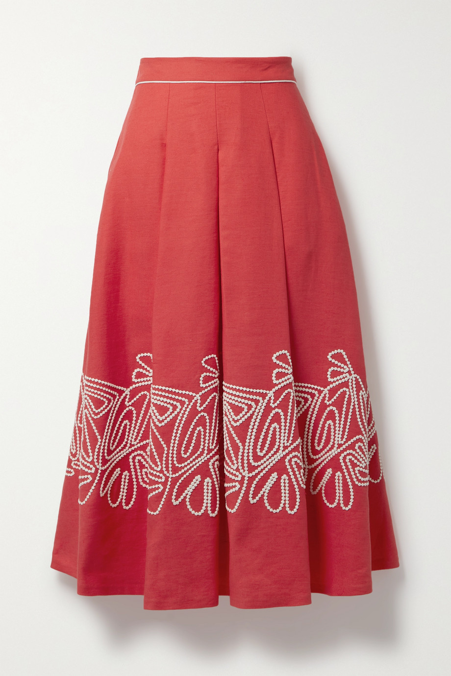 Loro Piana Dolly pleated embroidered linen-twill midi skirt