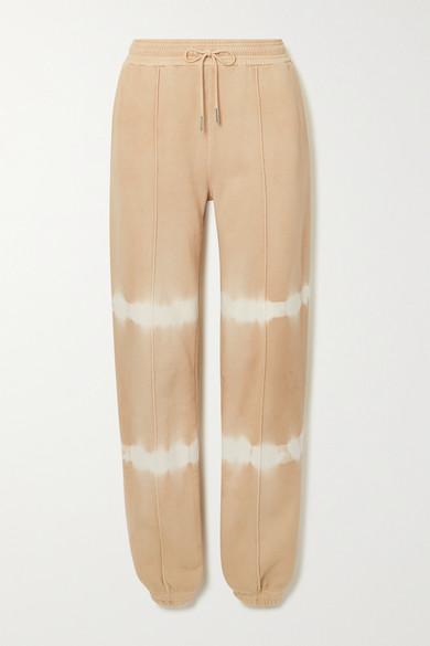 Ninety Percent Net Sustain Tie-dyed Organic Cotton-jersey Track Pants In Beige