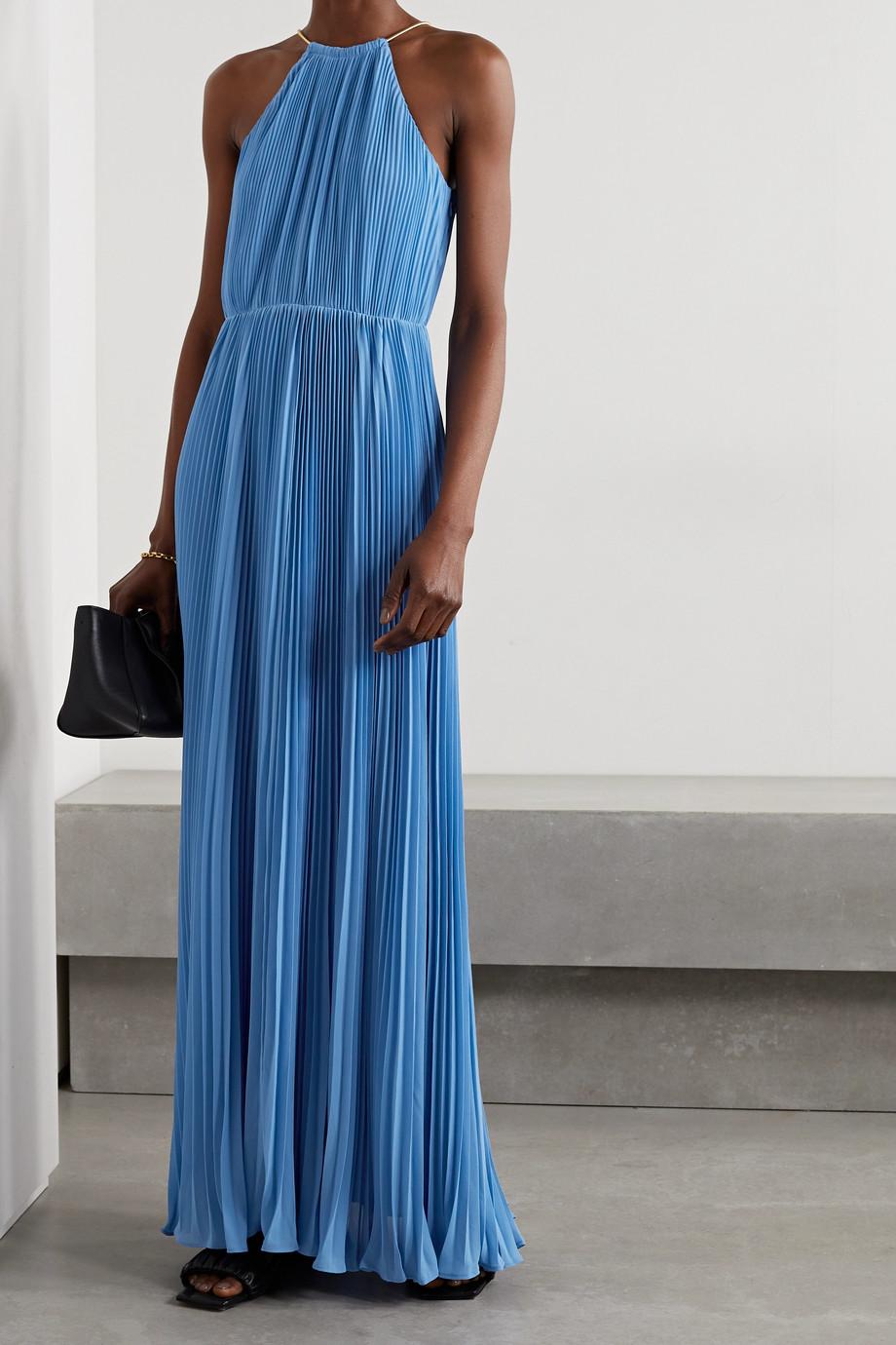 MICHAEL Michael Kors Chain-embellished plissé-georgette halterneck maxi dress