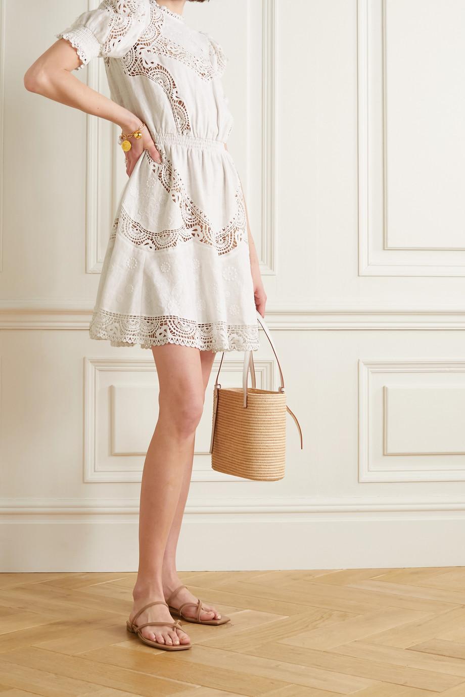MICHAEL Michael Kors Crochet-trimmed embroidered hemp mini dress