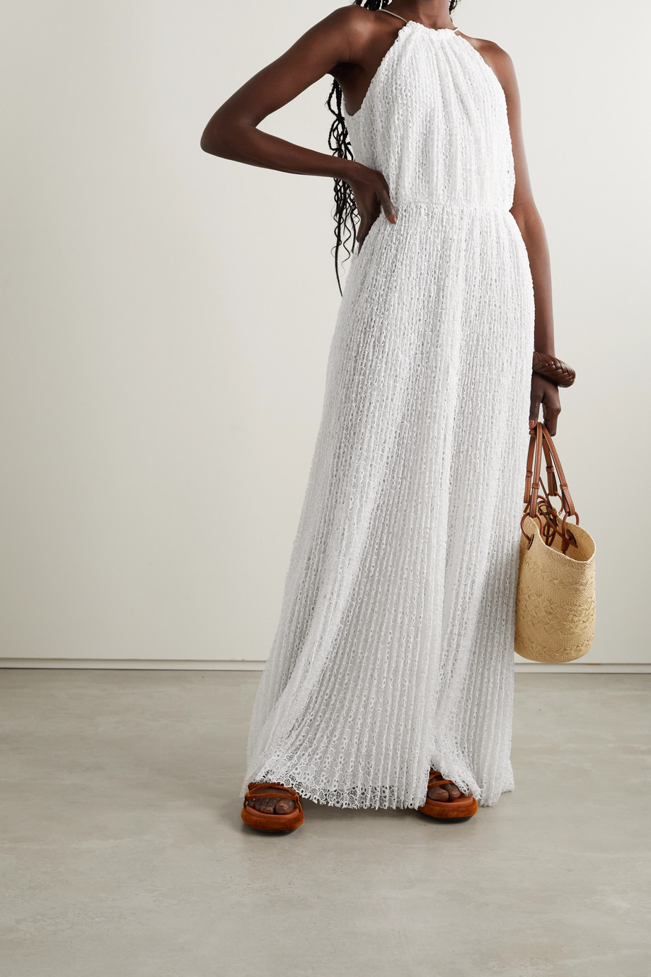 MICHAEL Michael Kors Chain-embellished pleated lace maxi dress