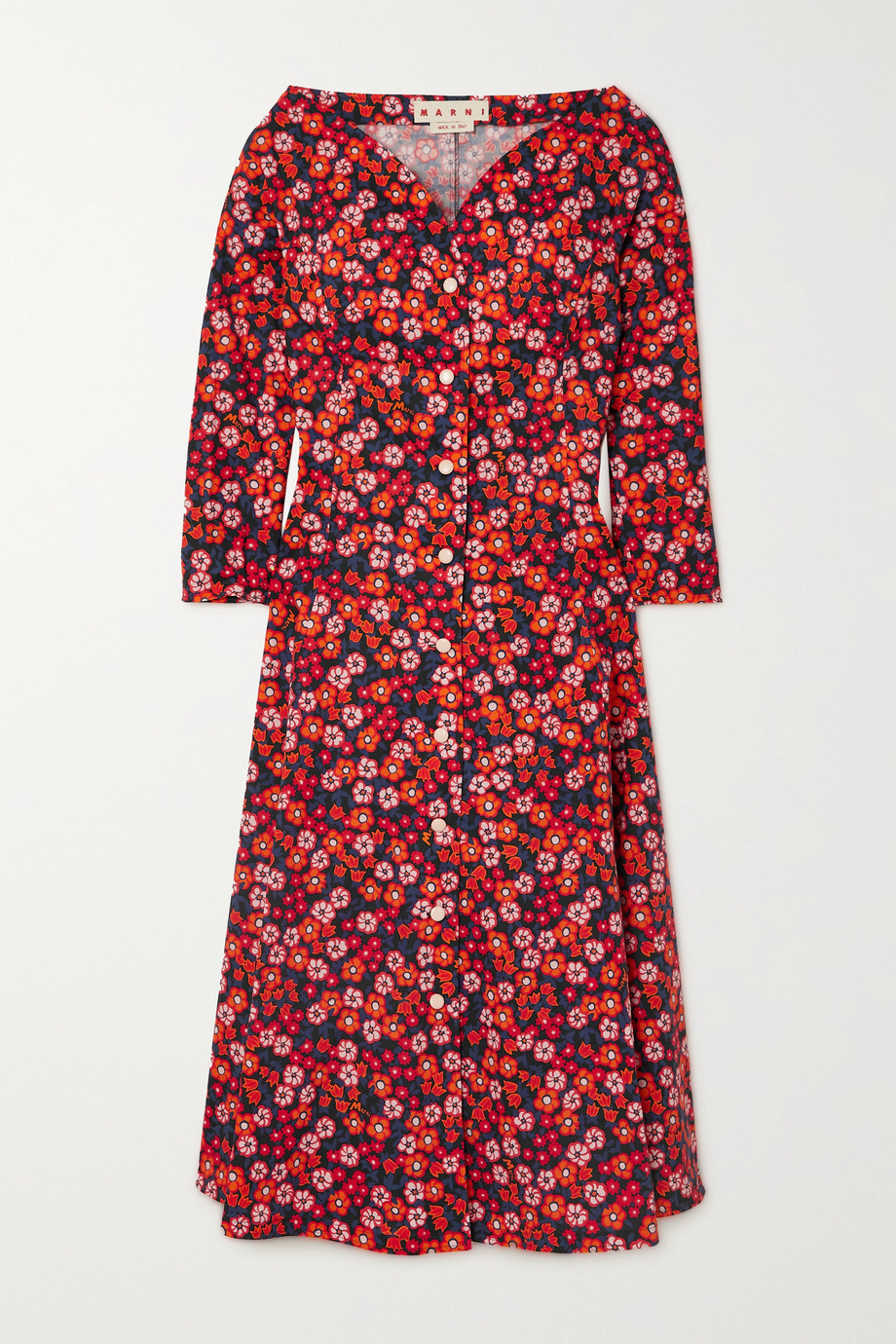 Marni Pop Garden floral-print cotton-poplin midi dress