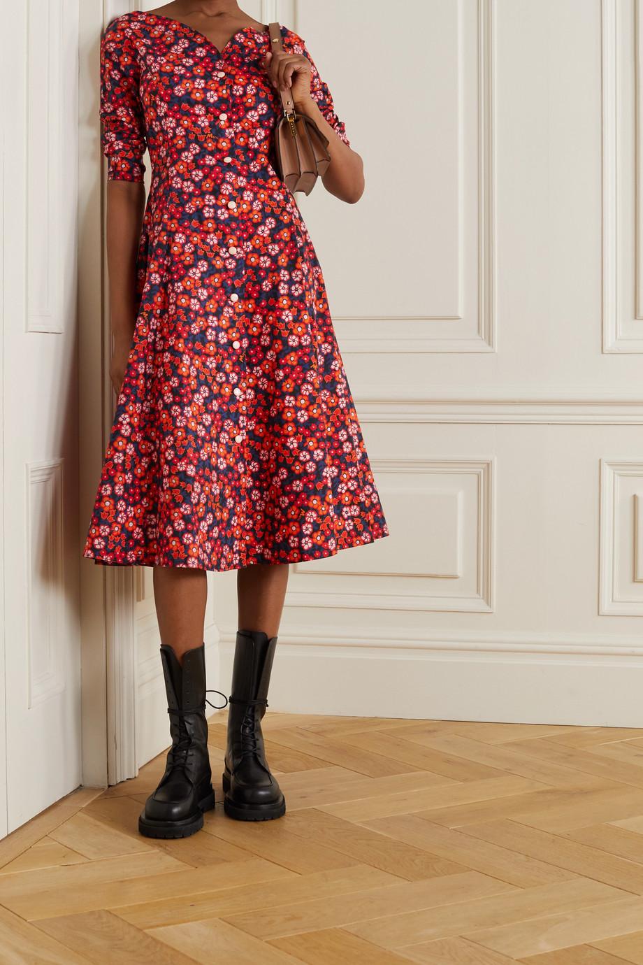 Marni Robe midi en popeline de coton à imprimé fleuri Pop Garden
