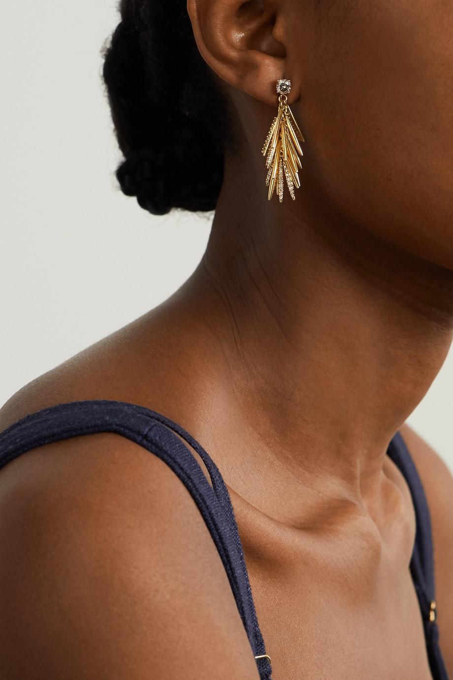 Ileana Makri Grass Sunshine Drops 18-karat gold diamond earrings