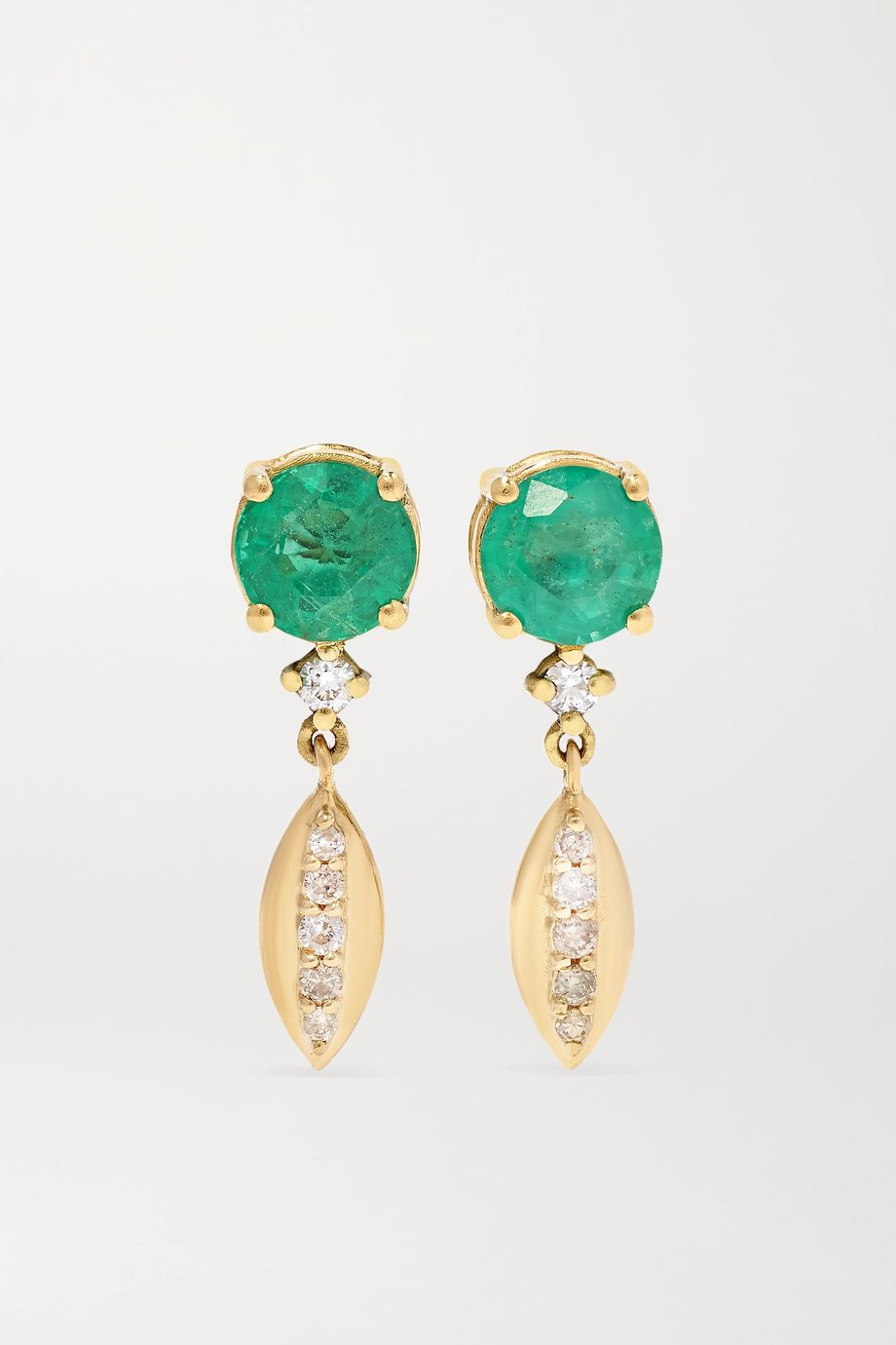Ileana Makri Grass Single Dewdrop 18-karat gold, emerald and diamond earrings