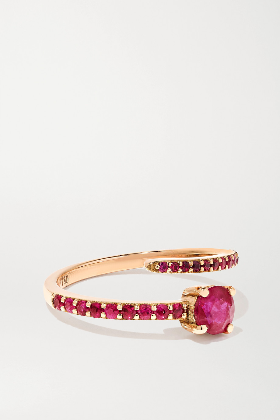 Ileana Makri Grass Seed 18-karat rose gold ruby ring