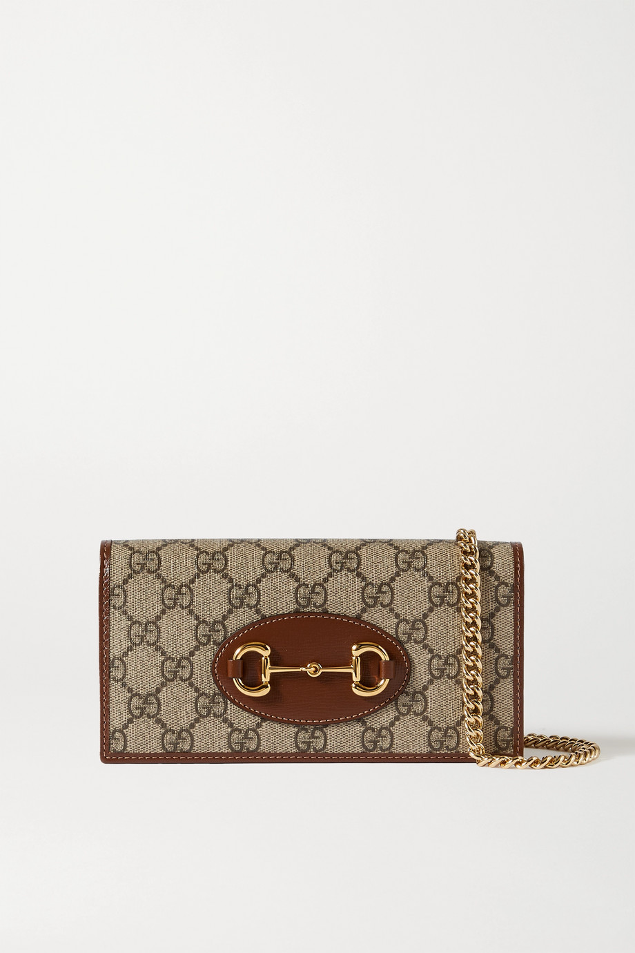 Gucci 1955 Horsebit textured leather-trimmed printed coated-canvas shoulder bag