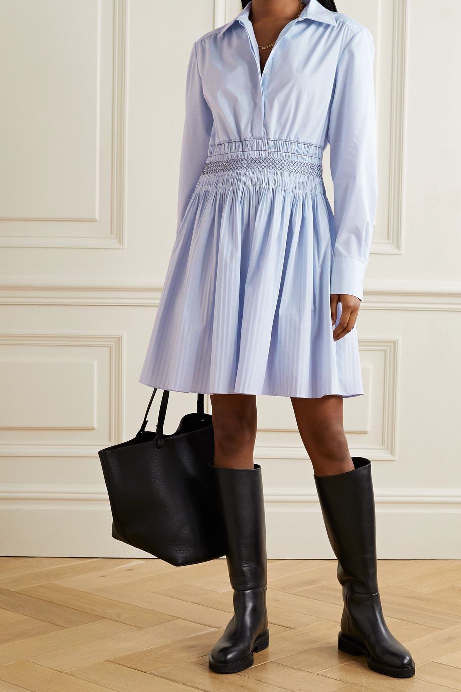 Jason Wu Shirred cotton-blend poplin mini shirt dress