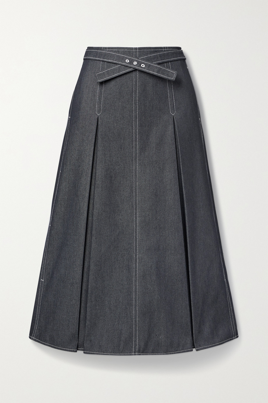 Jason Wu Belted pleated denim midi skirt