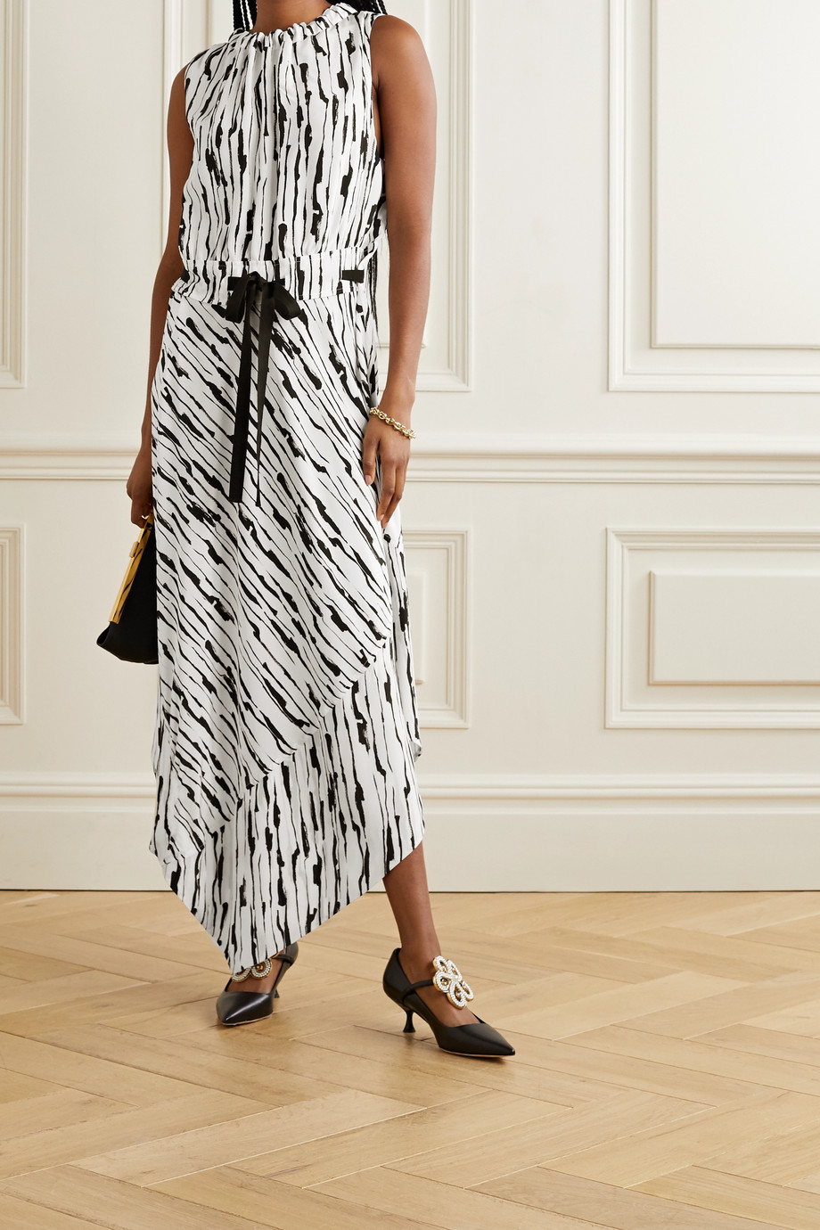 Jason Wu Asymmetric printed silk-crepe dress