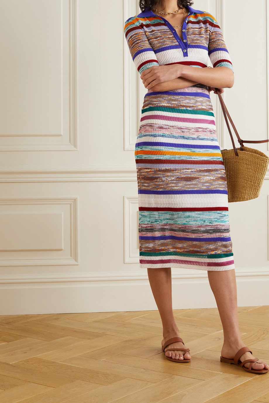 Missoni Striped crochet-knit stretch-silk midi dress
