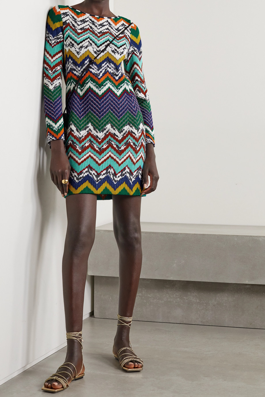 Missoni Crochet-knit cotton-blend mini dress