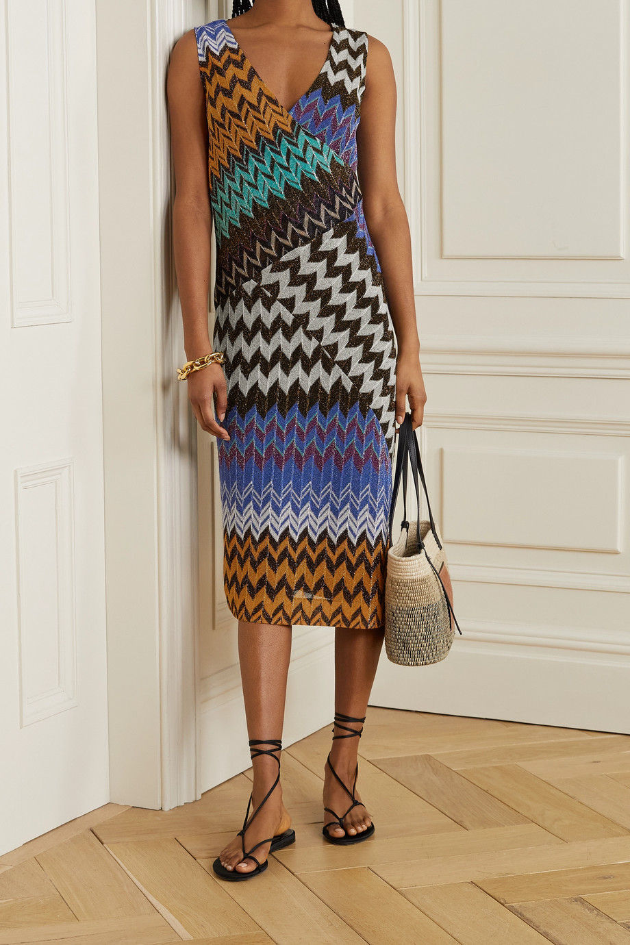 Missoni Paneled metallic crochet-knit midi dress