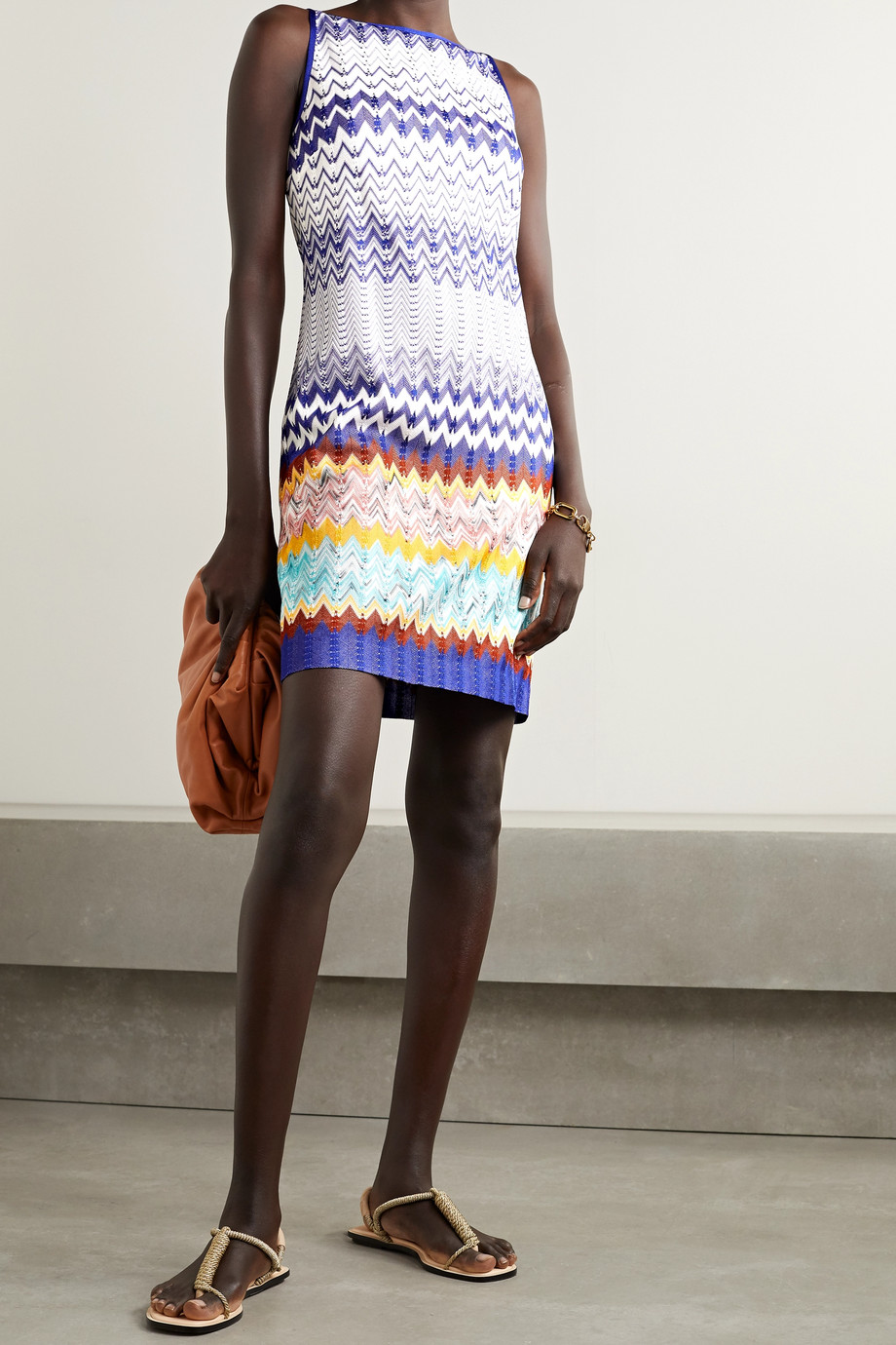 Missoni Striped crochet-knit mini dress