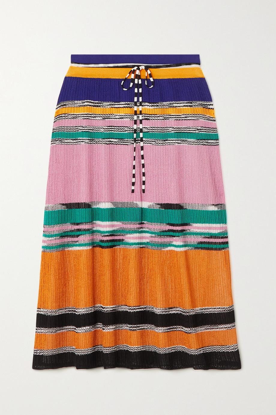 Missoni Metallic striped crochet-knit skirt
