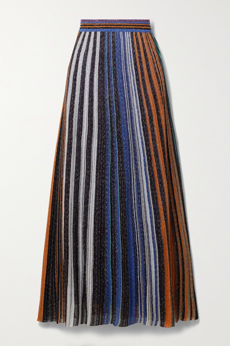 Missoni Midirock aus plissiertem Metallic-Häkelstrick mit Streifen