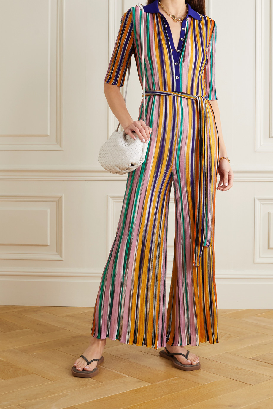 Missoni Belted striped crochet-knit jumpsuit