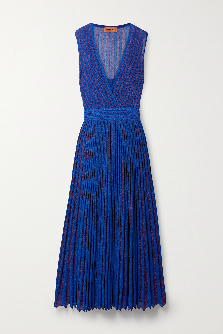Missoni Pleated striped metallic crochet-knit maxi dress