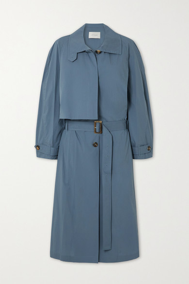 LOW CLASSIC - Pleated Cotton-blend Trench Coat - Blue