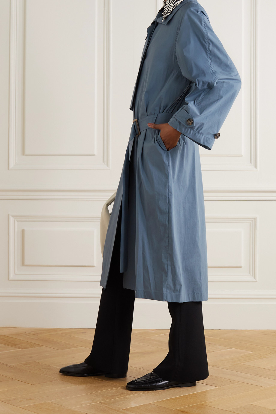 LOW CLASSIC Pleated cotton-blend trench coat