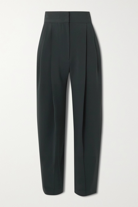 LOW CLASSIC Pintucked crepe wide-leg pants