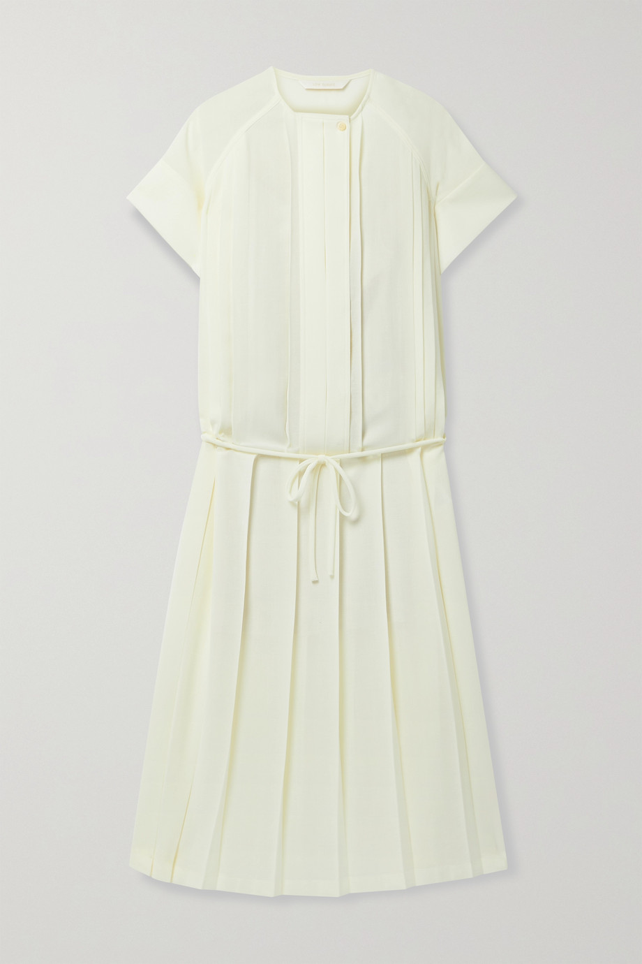 LOW CLASSIC Belted pleated voile midi dress