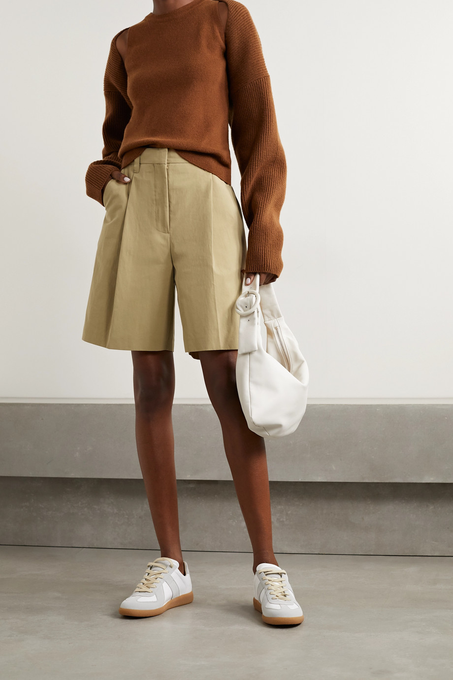 LOW CLASSIC Pleated cotton-blend twill shorts