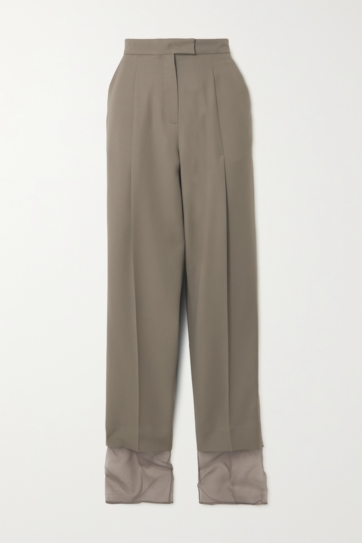 LOW CLASSIC Layered wool and organza straight-leg pants