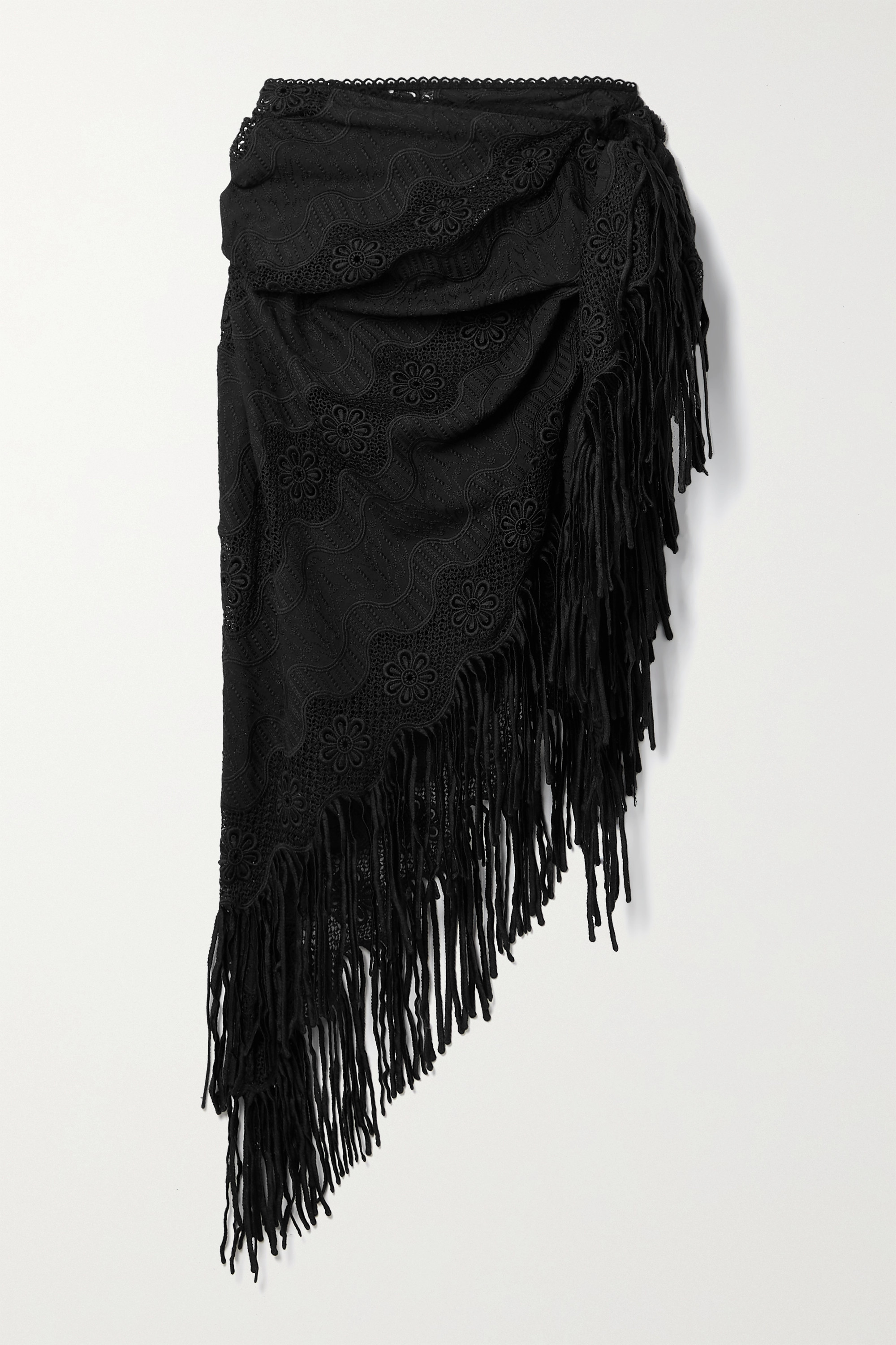 Miguelina Julia Fringed Crochet-trimmed Embroidered Cotton-blend Pareo In Black