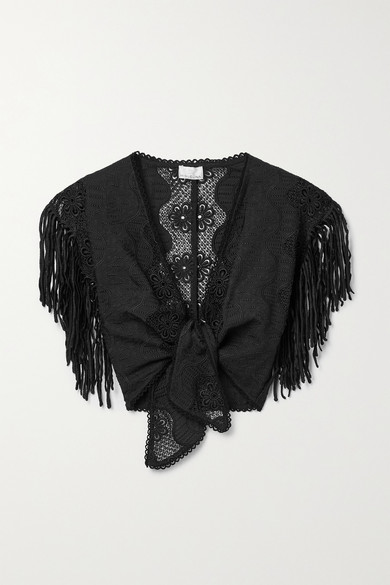 Miguelina Madison Cropped Fringed Embroidered Cotton-blend Top In Black
