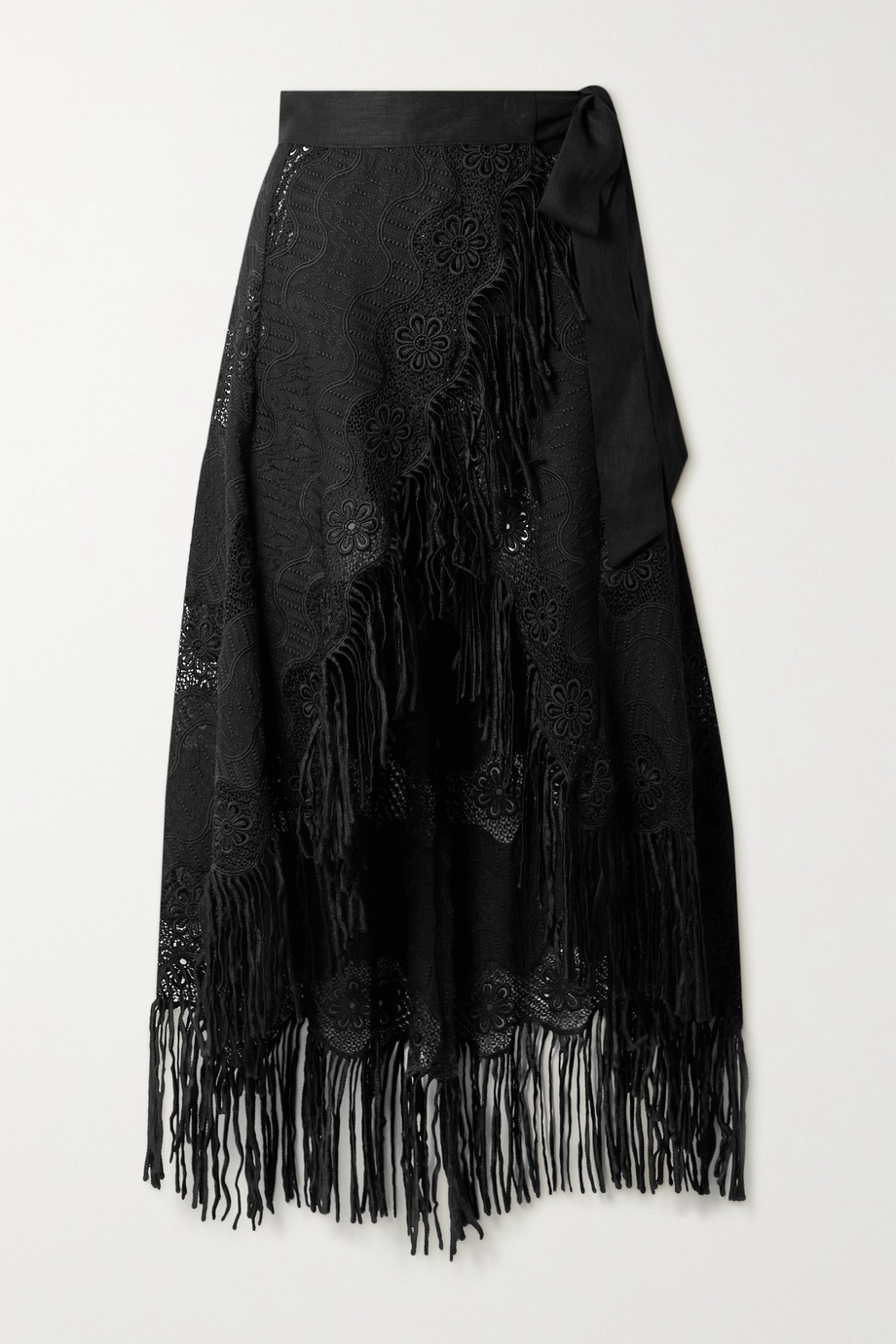 Miguelina Caterina fringed embroidered cotton-blend wrap midi skirt