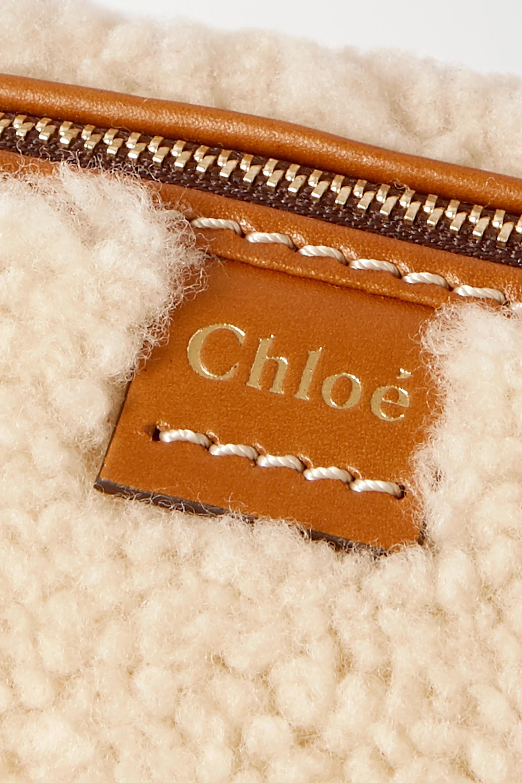 Chloé Daria mini Tote aus Leder mit Shearling-Besätzen