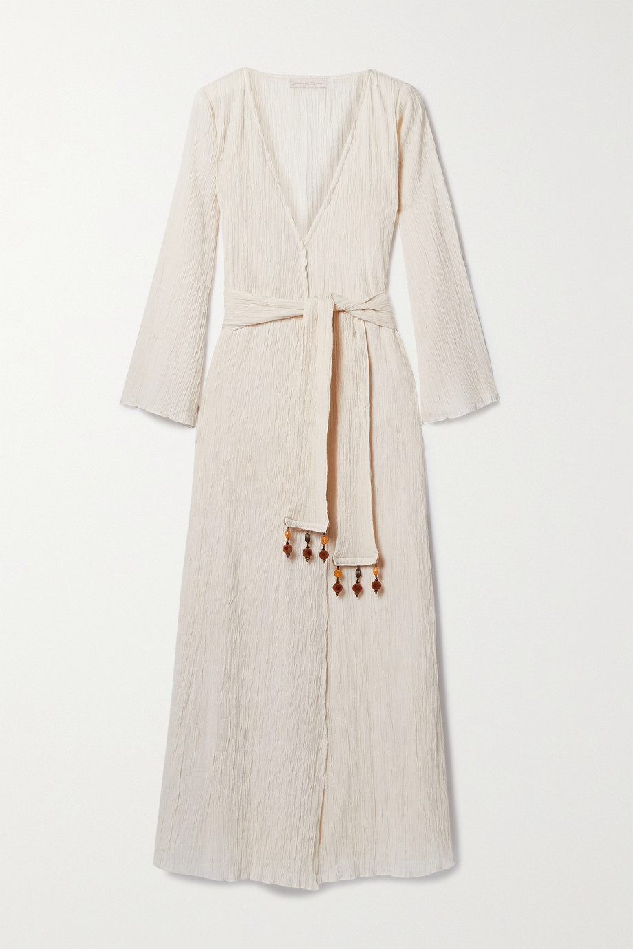 Savannah Morrow The Label + NET SUSTAIN Amity embellished belted crinkled organic cotton-gauze wrap dress