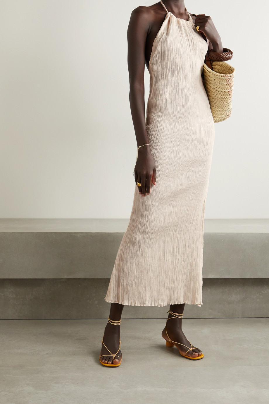 Savannah Morrow The Label + NET SUSTAIN Jaya crinkled organic cotton-gauze halterneck midi dress