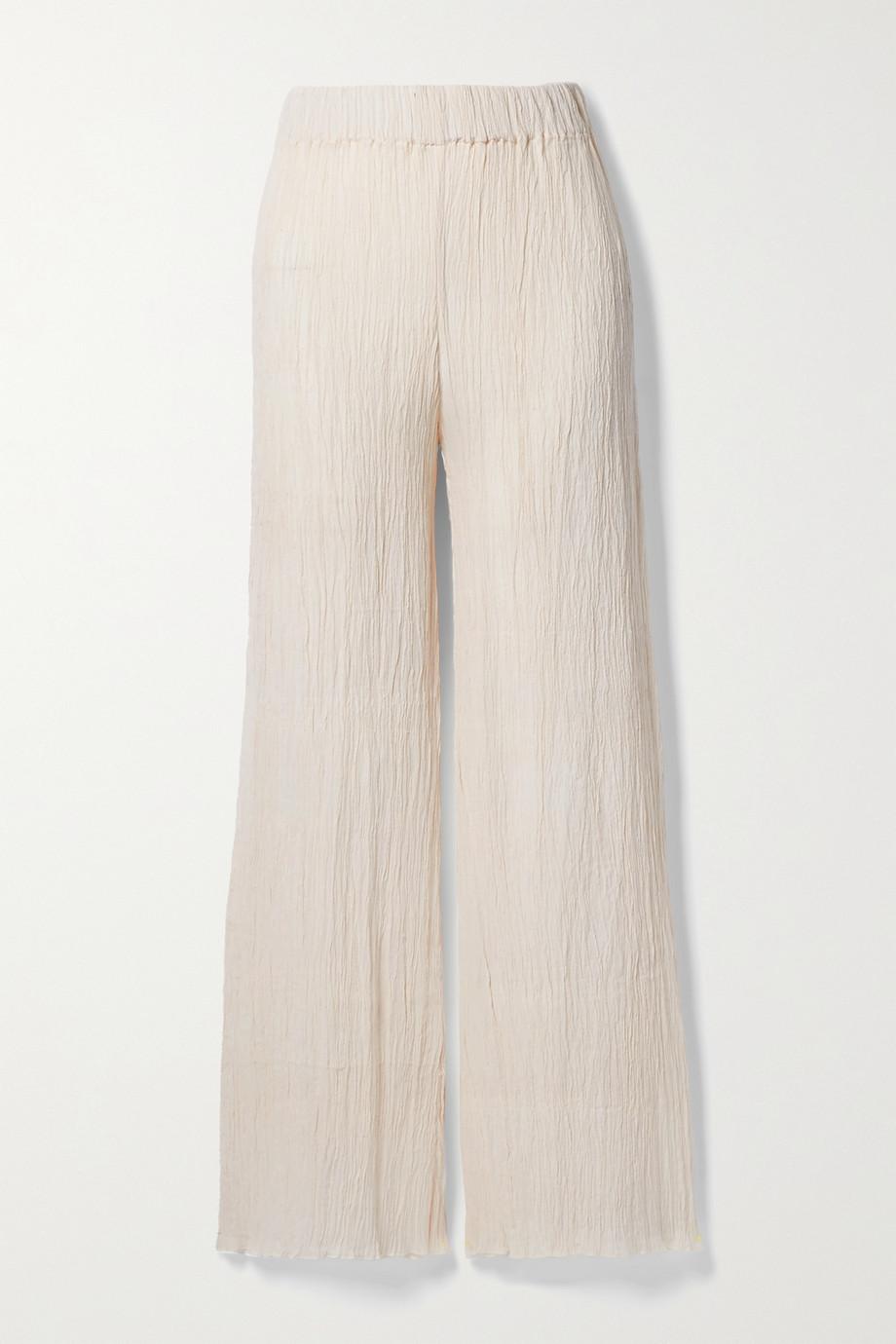 Savannah Morrow The Label + NET SUSTAIN Naia Hose mit weitem Bein aus Biobaumwollgaze in Knitteroptik