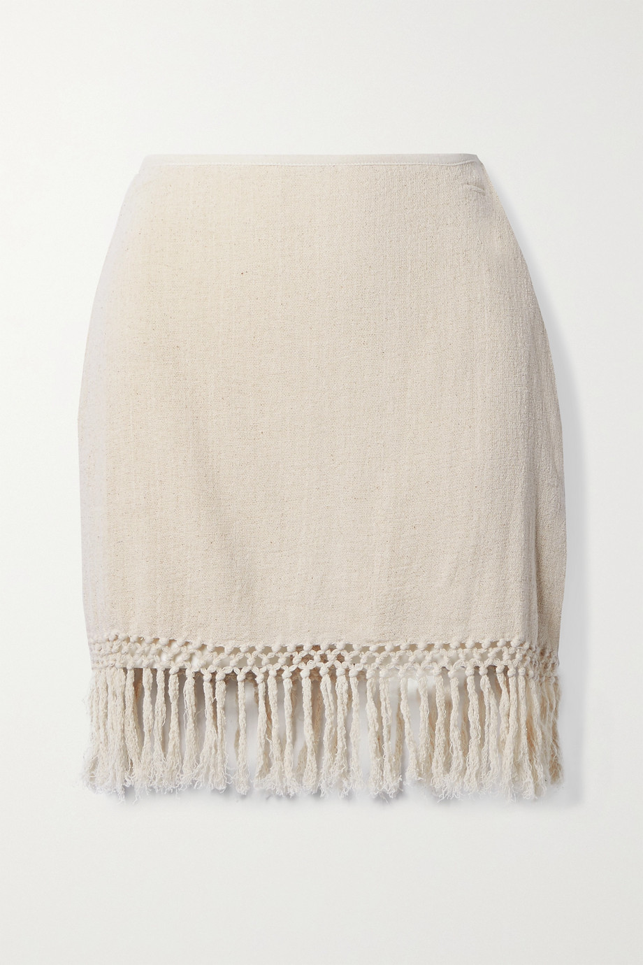 Savannah Morrow The Label + NET SUSTAIN The Jasmine fringed macramé ramie mini skirt