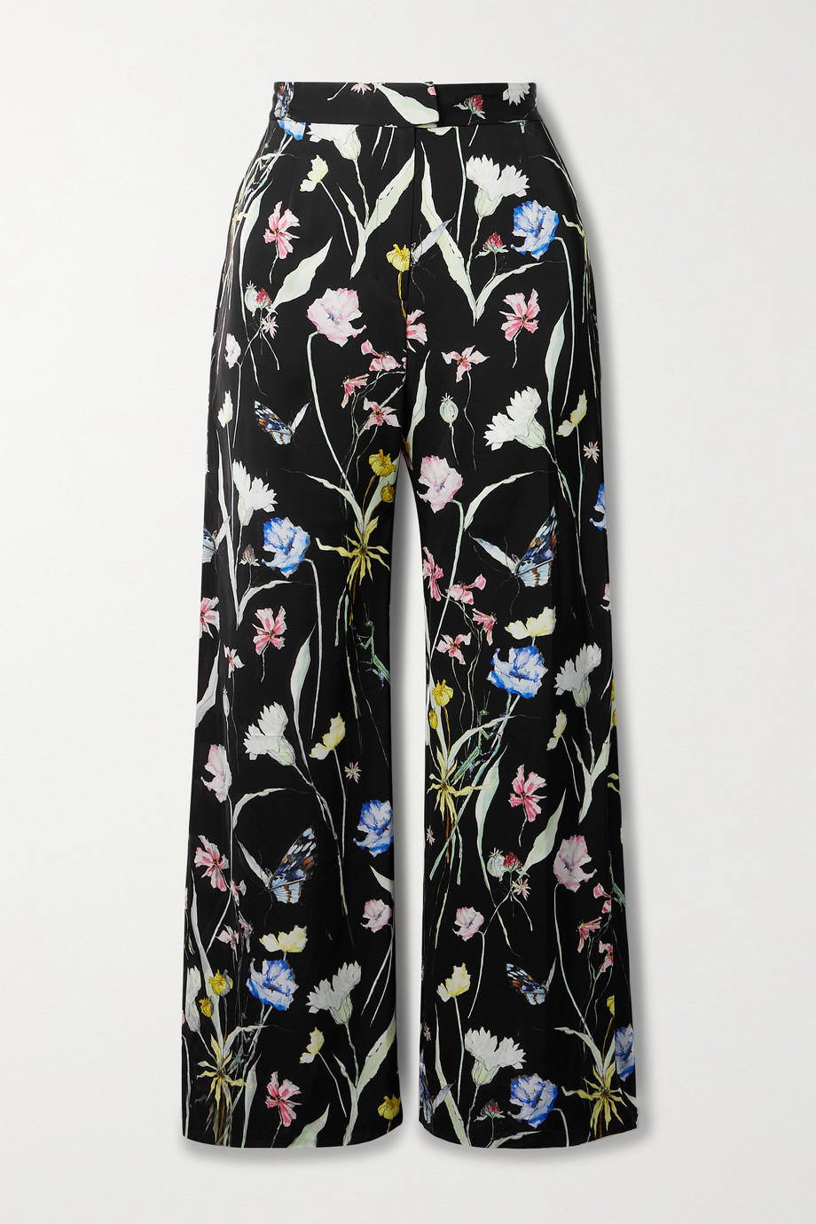 Jason Wu Collection Floral-print matte-satin straight-leg pants